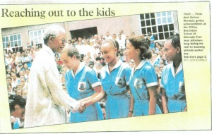 Meeting Nelson Mandela as part of the school choir, 1995
